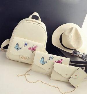 Rucsac Butterfly  Bej, set 4 accesorii