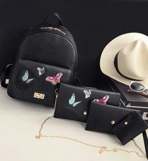 Rucsac Butterfly , Negru , set 4 accesorii