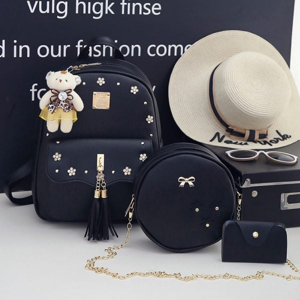 Set Rucsac 3 accesorii Marinette Negru + Ursulet Cadou