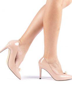 Pantofi cu toc dama Zolia nude