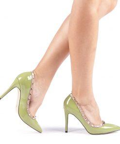 Pantofi cu toc dama Yandra verzi
