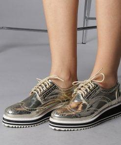 Pantofi casual dama Sara aurii