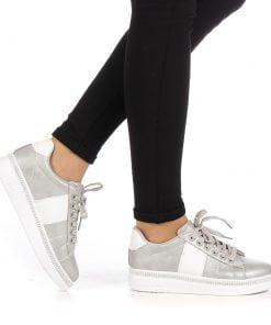 Pantofi sport dama Alliance gri cu alb