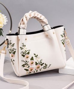 geanta dama alba cu imprimeu florau Bouquet zafia.ro