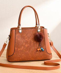 geanta dama portocalie cu imprimeu floral si accesoriu zafia.ro