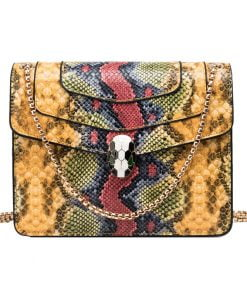 geanta dama cu model piele de sarpe Galbena - Python zafia.ro