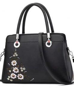 geanta dama cu imprimeu floral minna neagra zafia.ro